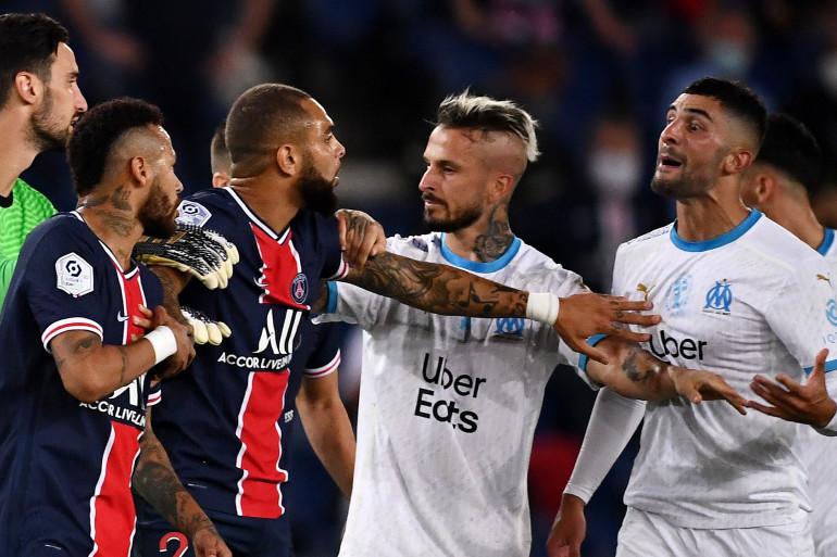 Rico, Neymar, Kurzawa, Benedetto et Alvaro au Parc des Princes le 13 septembre 2020