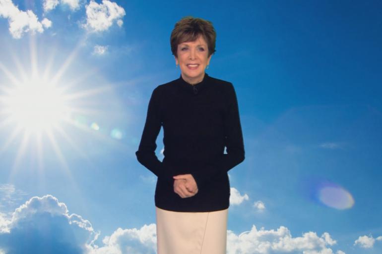 Catherine Laborde lors de sa dernière météo sur TF, le 1er janvier 2017