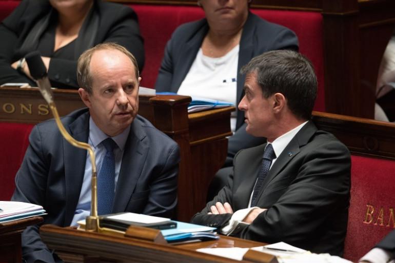 Jean-Jacques Urvoas et Manuel Valls à l'Assemblée nationale, le 4 octobre 2016