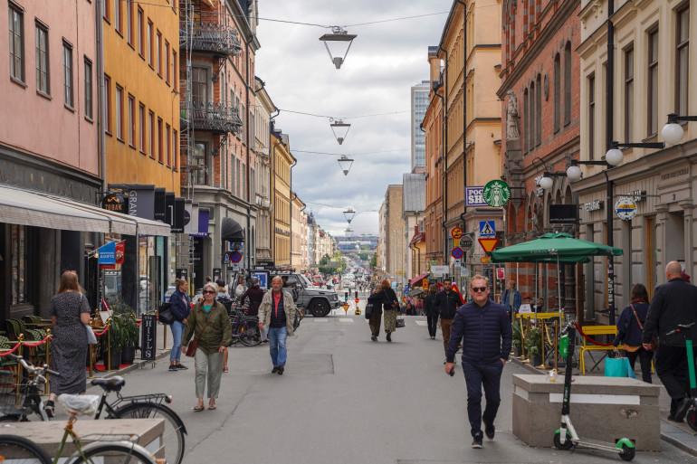 Une rue de Stockholm, le 31 août 2020