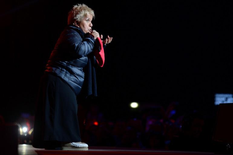Mimie Mathy lors du concert des Enfoirés à Strasbourg,  le 15 janvier 2014