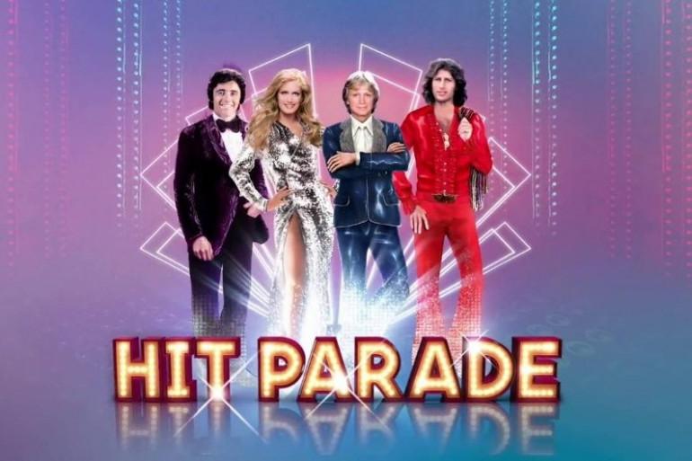 """Sacha Distel, Dalida, Claude François et Mike Brant dans le spectacle musical """"Hit Parade"""""""