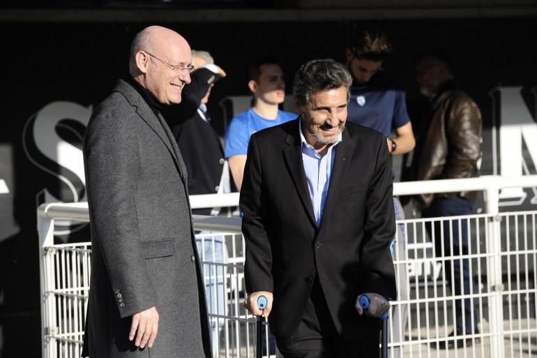 Bernard Laporte et Mohed Altrad, à Montpellier le 19 février 2017