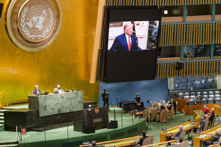 Le discours de Donald Trump retransmis aux Nations Unies, le 22 septembre 2020
