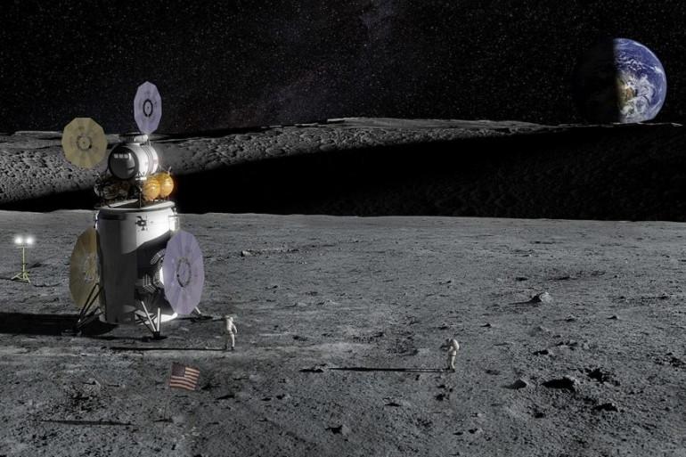 Vue d'artiste de la mission Artemis à la surface de la Lune en 2024