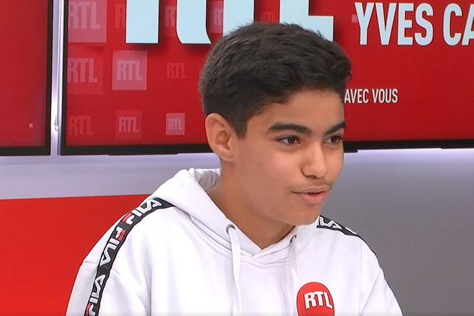 Mohamed Iyad, meilleur jeune lecteur de France, sur le plateau de RTL le 29 septembre 2020