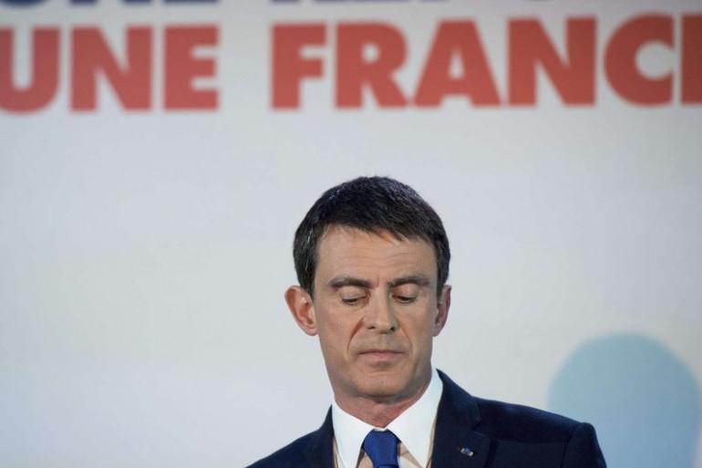 Manuel Valls, à son QG de campagne, au soir du premier tour de la primaire de la gauche, à Paris le 22 janvier 2017