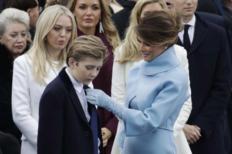 Melania Trump et son fils Barron, le 20 janvier 2017 à Washington