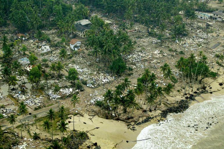 Le Sri Lanka ravagé par le tsunami survenu le 26 décembre 2004.