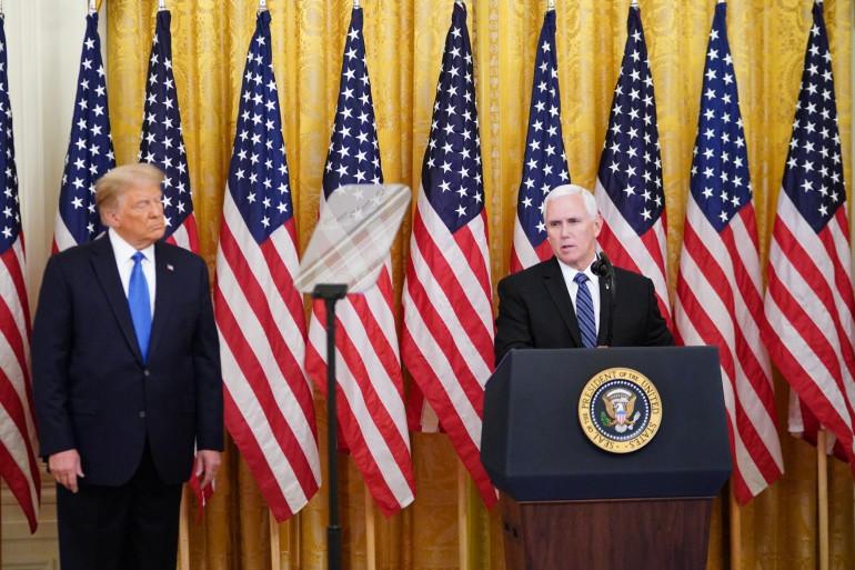 Le vice-président américain Mike Pence avec le président américain Donald Trump à Washington, le 23 septembre 2020.