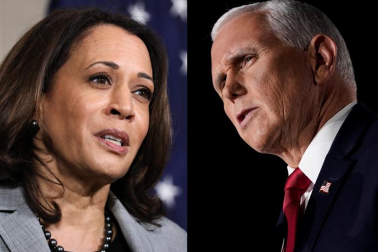 La sénatrice démocrate Kamala Harris, et le vice-président républicain Mike Pence