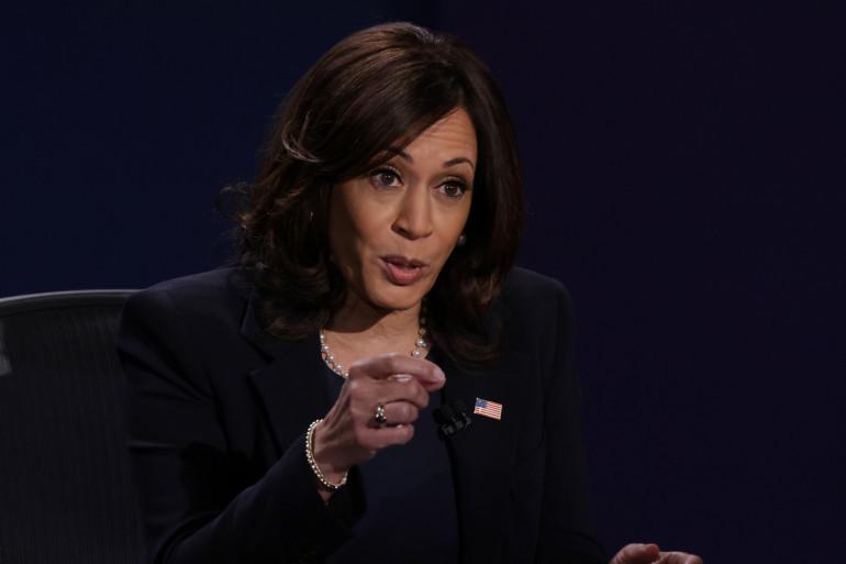 Kamala Harris lors de son débat à Salt Lake City contre Mike Pence .