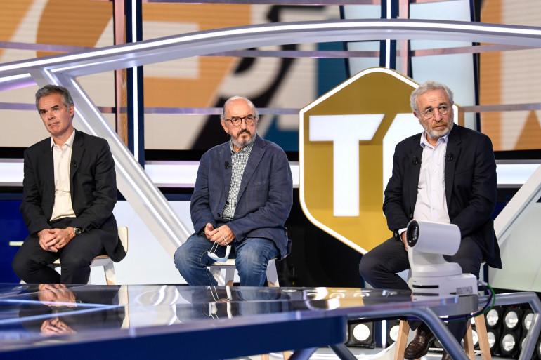 Les trois hommes fort de Mediapro Julien Bergeaud, Jaume Roures et Jean-Michel Roussier le 18 août 2020 à Aubervilliers