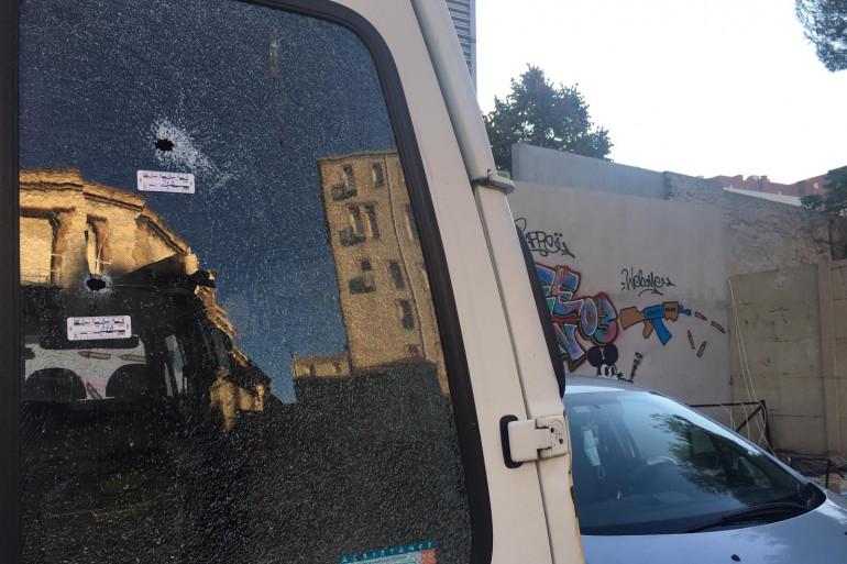 La camionnette visée par des tirs à Marseille, le 12 octobre 2020