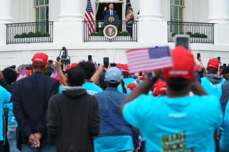 Donald Trump donnant un meeting depuis la Maison Blanche, le 10 octobre 2020