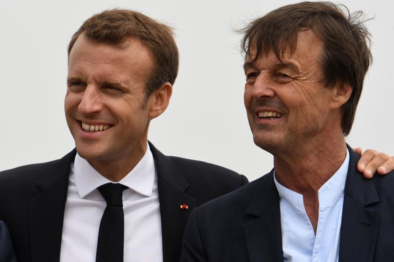 Emmanuel Macron et Nicolas Hulot en juin 2018 à Plévenon (Côtes-d'Armor)