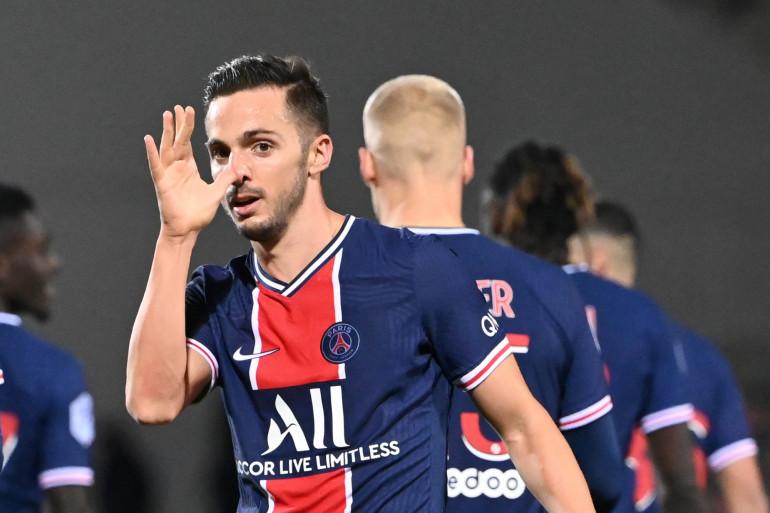 Pablo Sarabia célébrant son but à la 88e minute face à Nîmes vendredi 16 octobre 2020.
