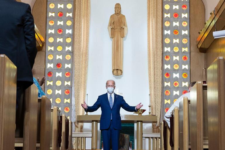 Joe Biden, catholique pratiquant, dans une église luthérienne du Wisconsin, le 3 septembre 2020