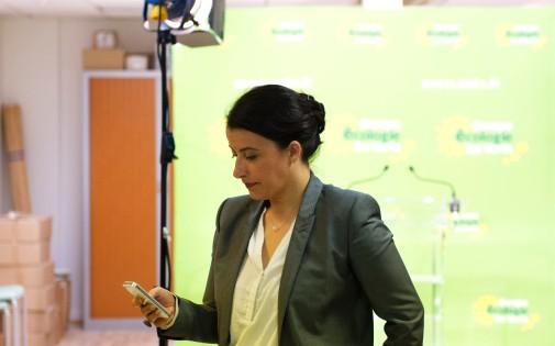 Cécile Duflot au soir du premier tour des élections municipales, le 23 mars 2014