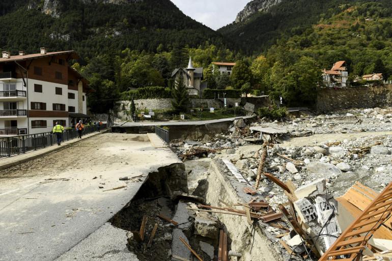 La commune de Saint-Martin-Vésubie victime de la tempête Alex au début du mois d'octobre 2020