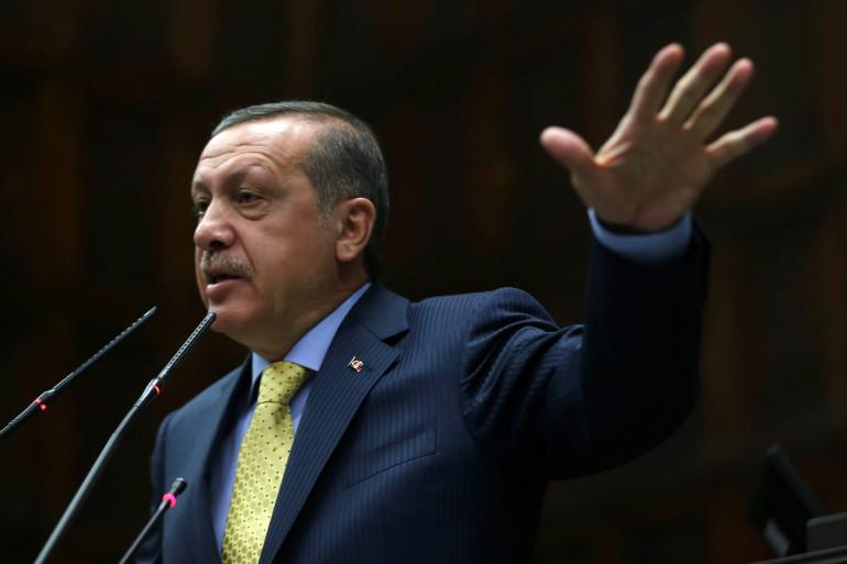 Le Premier ministre turc Recep Tayyip Erdogan à la tribune du Parlement, le 27 mai 2014