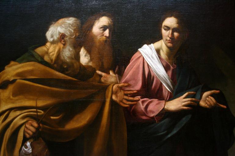 """Détail de """"L'Appel des saints Pierre et André"""" du Caravage lors d'une exposition à Londres en 2007"""
