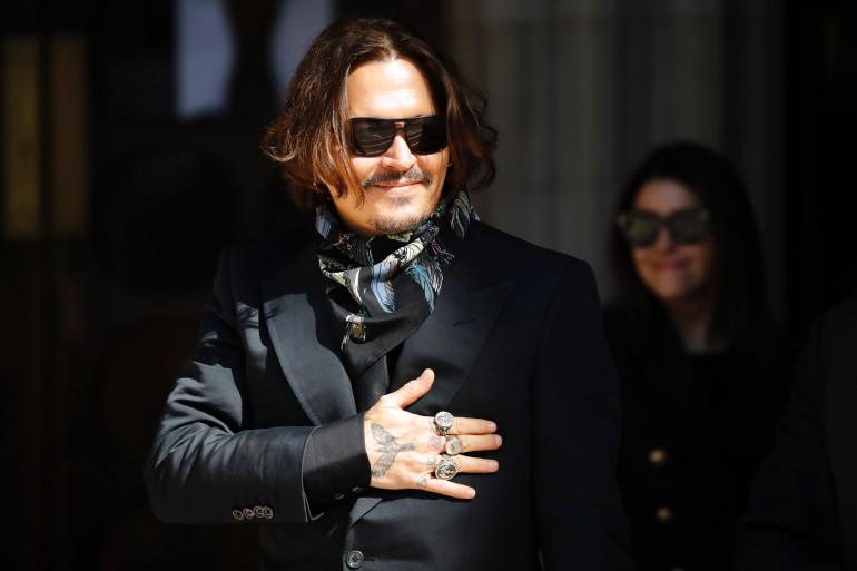Johnny Depp devant la Haute Cour de justice à Londres, le 20 juillet 2020