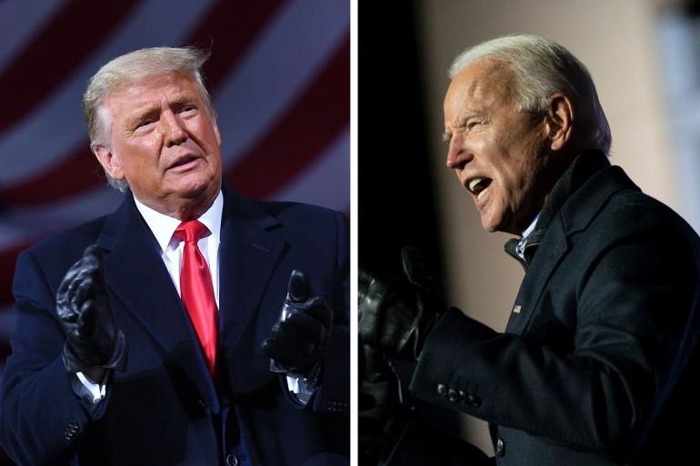 Donald Trump et Joe Biden en meeting