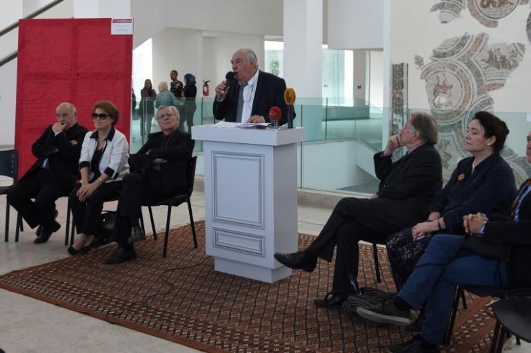 Didier Decoin, académicien Goncourt, annonce les 4 finalistes au musée du Bardo, le 27 octobre 2015