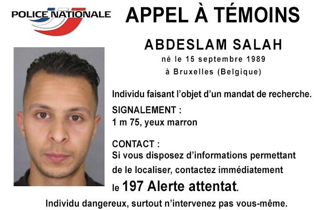 La police nationale a diffusé l'avis de recherche d'Abdeslam Salah, le 8e terroriste identifié dans les attentats du 13 novembre.
