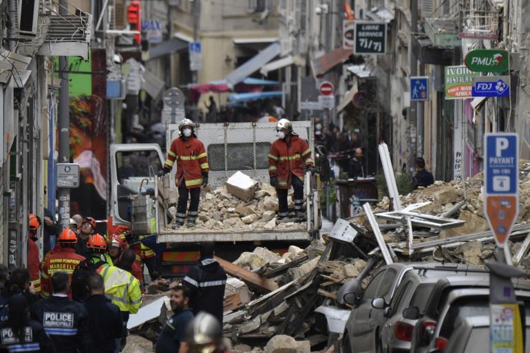 Des immeubles se sont effondrés dans la rue d'Aubagne, à Marseille, le 5 novembre 2018