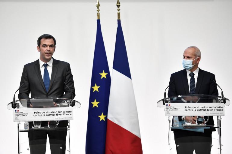 Olivier Véran et Jérôme Salomon, le 5 novembre 2020