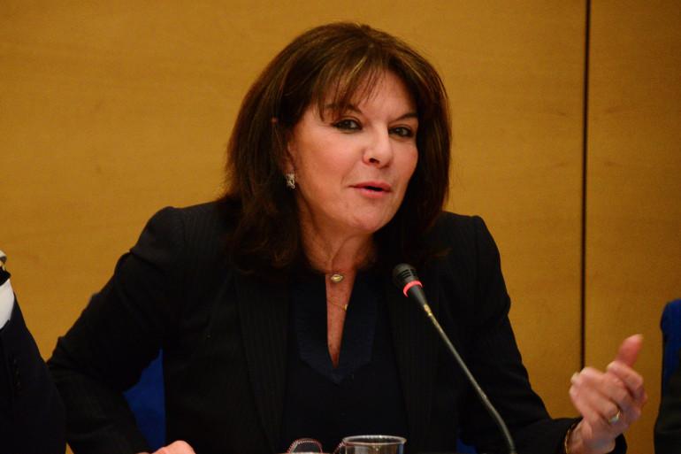 La sénatrice Nathalie Goulet au Sénat le 1er juin 2015.