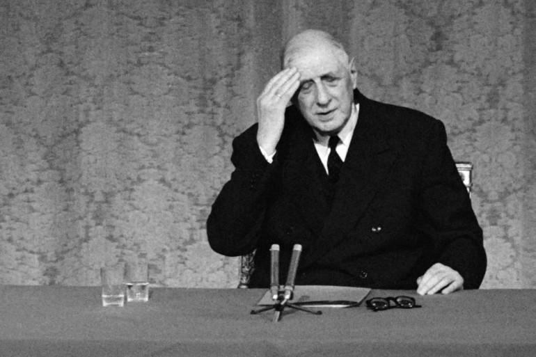 Le Général Charles de Gaulle, président de la République, le 8 septembre 1968 lors d'une conférence de presse à Paris