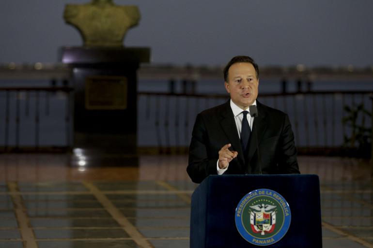 Le président du Panama Juan-Carlos Varela à Panama le 6 avril 2016.