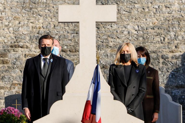 Emmanuel et Brigitte Macron à Colombey-les-Deux-Eglises le 9 novembre 2020