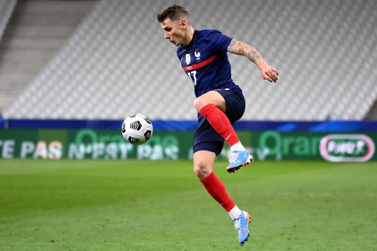 Lucas Digne avec les Bleus le 7 octobre 2020 à Saint-Denis