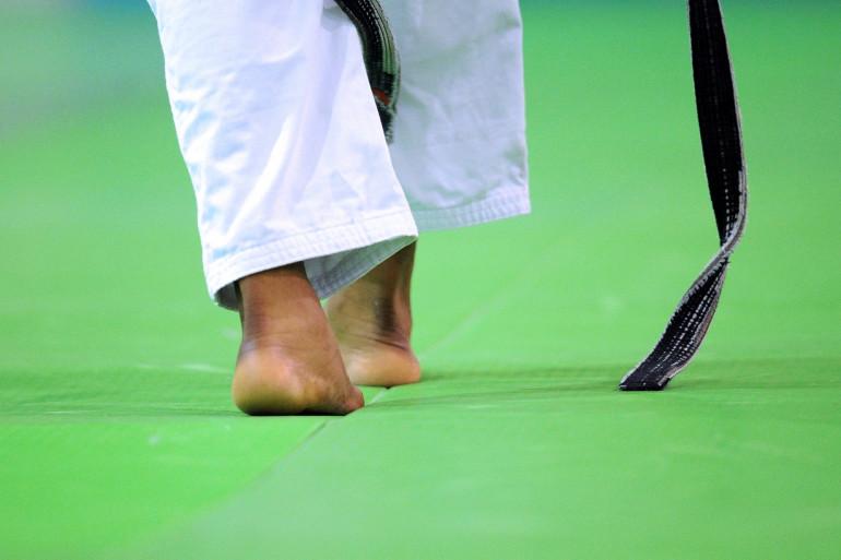 Un judoka sur un tatami à l'Insep en mai 2012