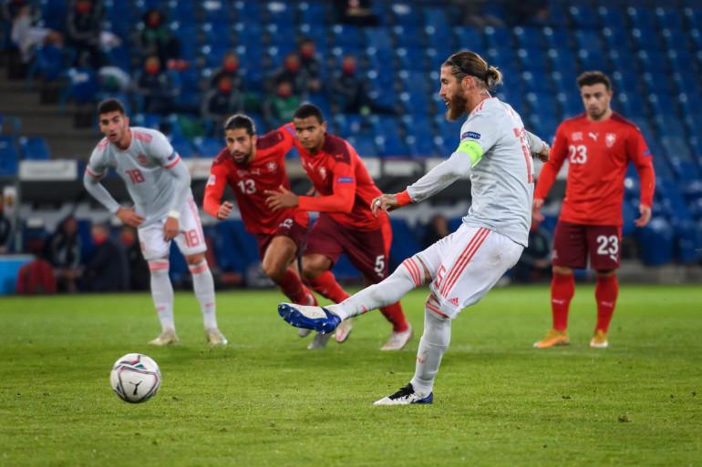 Le défenseur espagnol Sergio Ramos, face à la Suisse, le 14 novembre 2020