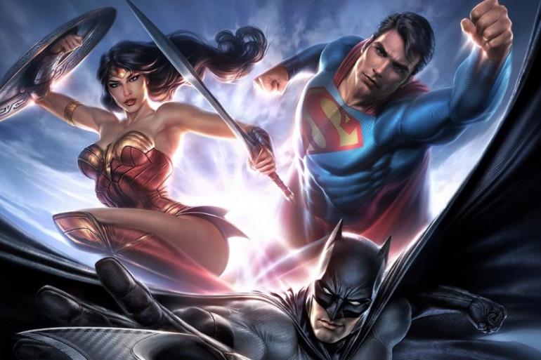 """L'affiche de l'exposition """"L'art de DC - L'aube des Super-Héros"""""""