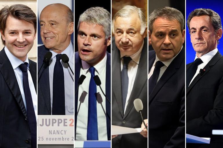 François Baroin, Alain Juppé, Laurent Wauquiez, Gérard Larcher, Xavier Bertrand et Nicolas Sarkozy