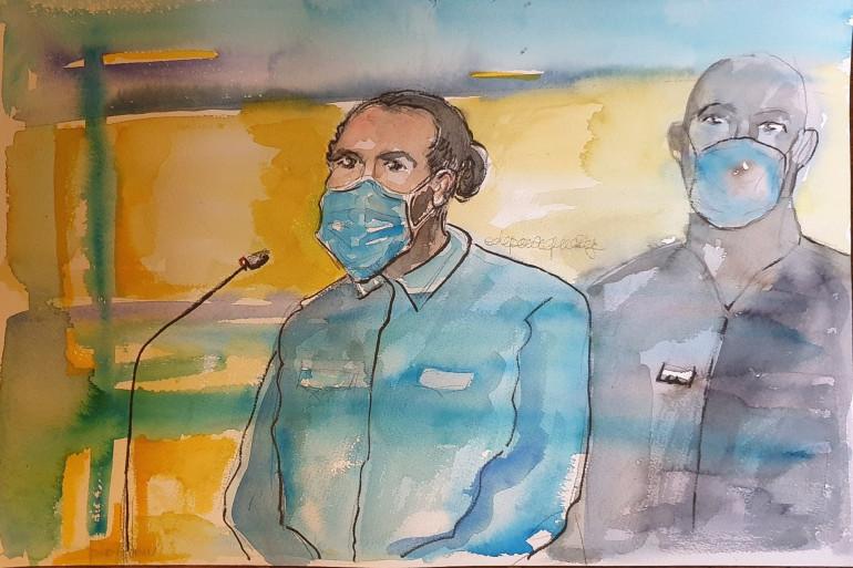 Ayoub El Khazzani lors de son procès pour l'attentat avorté du Thalys, le 16 novembre 2020, à Paris.