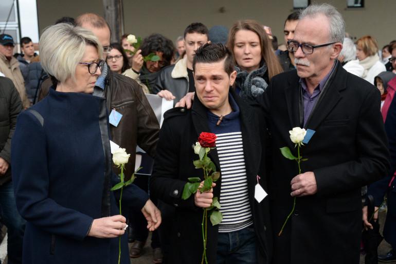 Jonathann Daval et ses beaux-parents Isabelle et Jean-Pierre Fouillot le 5 novembre 2017 à Gray (Haute-Saône)