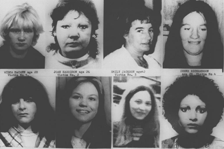 """Montage des portraits de huit des treize victimes de """"l'éventreur du Yorshire""""."""