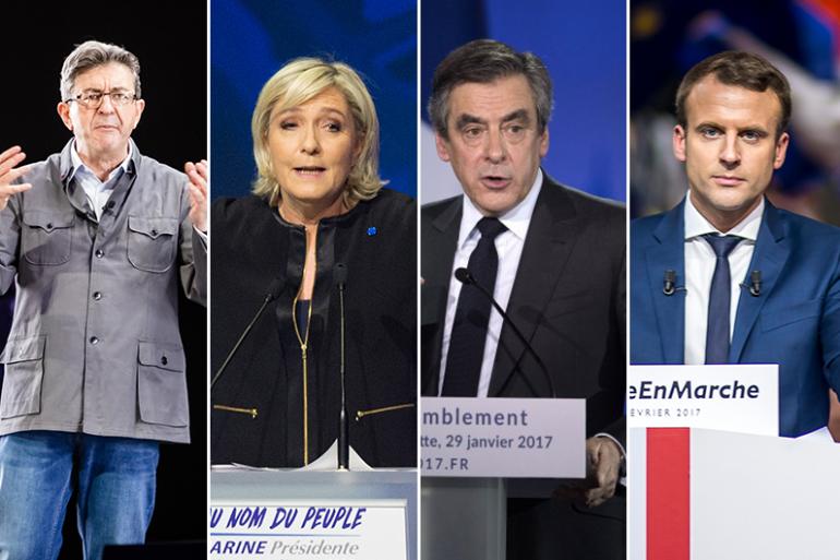 Jean-Luc Mélenchon, Marine Le Pen, François Fillon et Emmanuel Macron