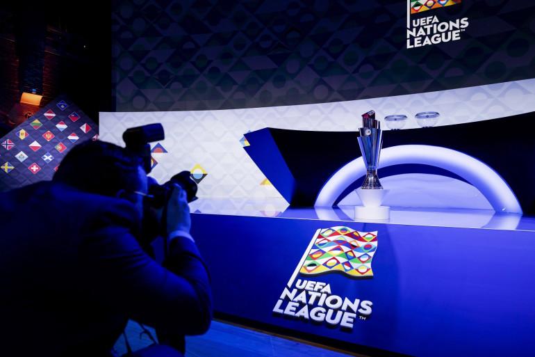 Le trophée de la Ligue des Nations en mars 2020 à Amsterdam