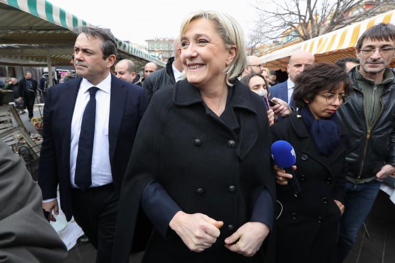 Marine Le Pen en déplacement à Nice, le 13 février 2017