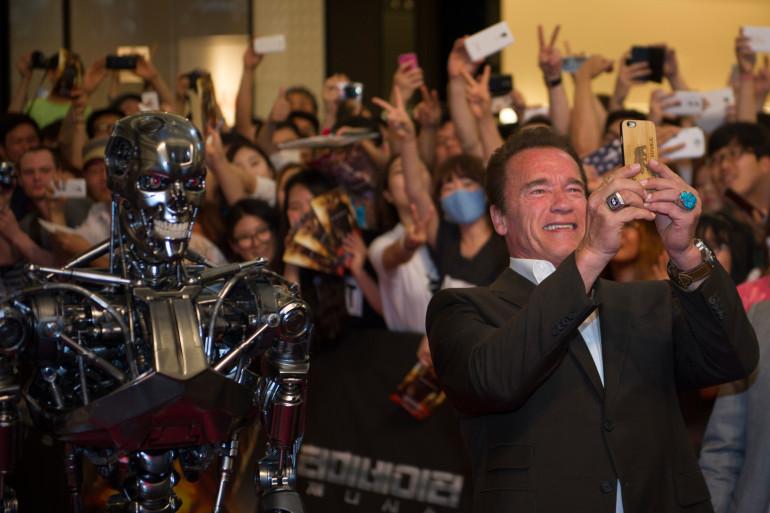 """Arnold Schwarzenegger présentant """"Terminator Genisys"""" à Séoul en juillet 2015"""
