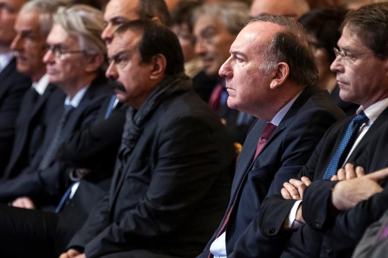 Philippe Martinez, le secrétaire général de la CGT et Pierre Gattaz, président du Medef, le 10 janvier 2017.