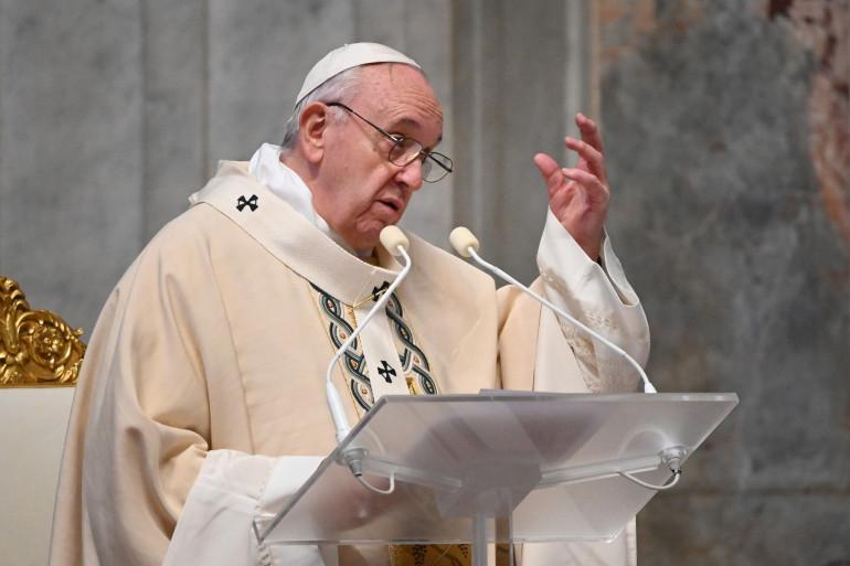 Le Pape François lors d'une messe pendant les Journées mondiales de la jeunesse (JMJ), le 22 novembre 2020 à la basilique Saint-Pierre au Vatican.
